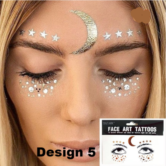 Metallic Face Temporary Tattoo Jewels - 9 DESIGNS - The Songbird Collection