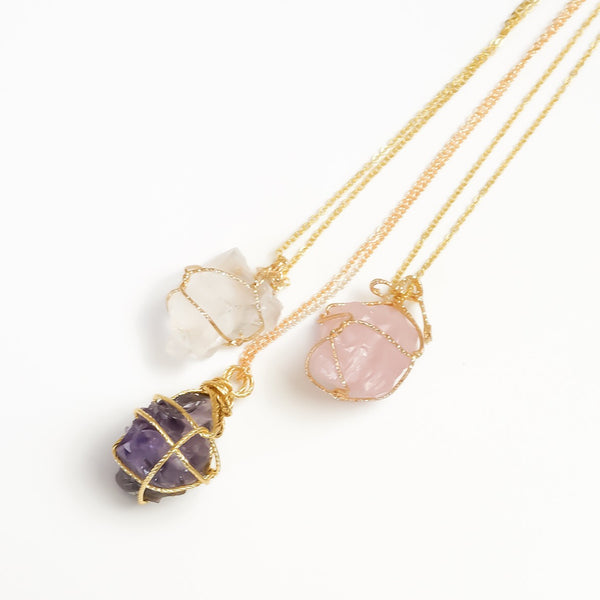 Raw Stone Crystal Necklace - 6 Colors LOW STOCK! - The Songbird Collection