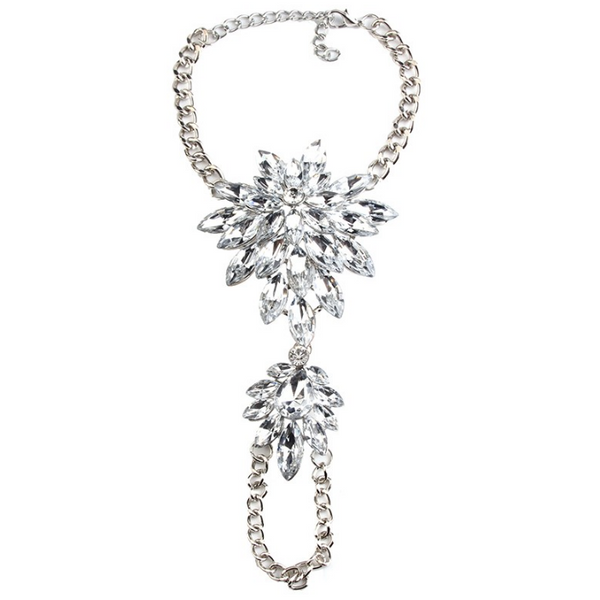 Ravishing Floral Crystal Hand Chains