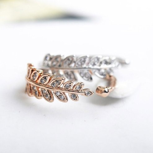 Bejeweled Leaf Ring - The Songbird Collection