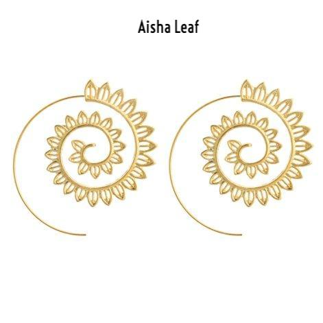 Aisha Swirl Leaf Earrings - The Songbird Collection