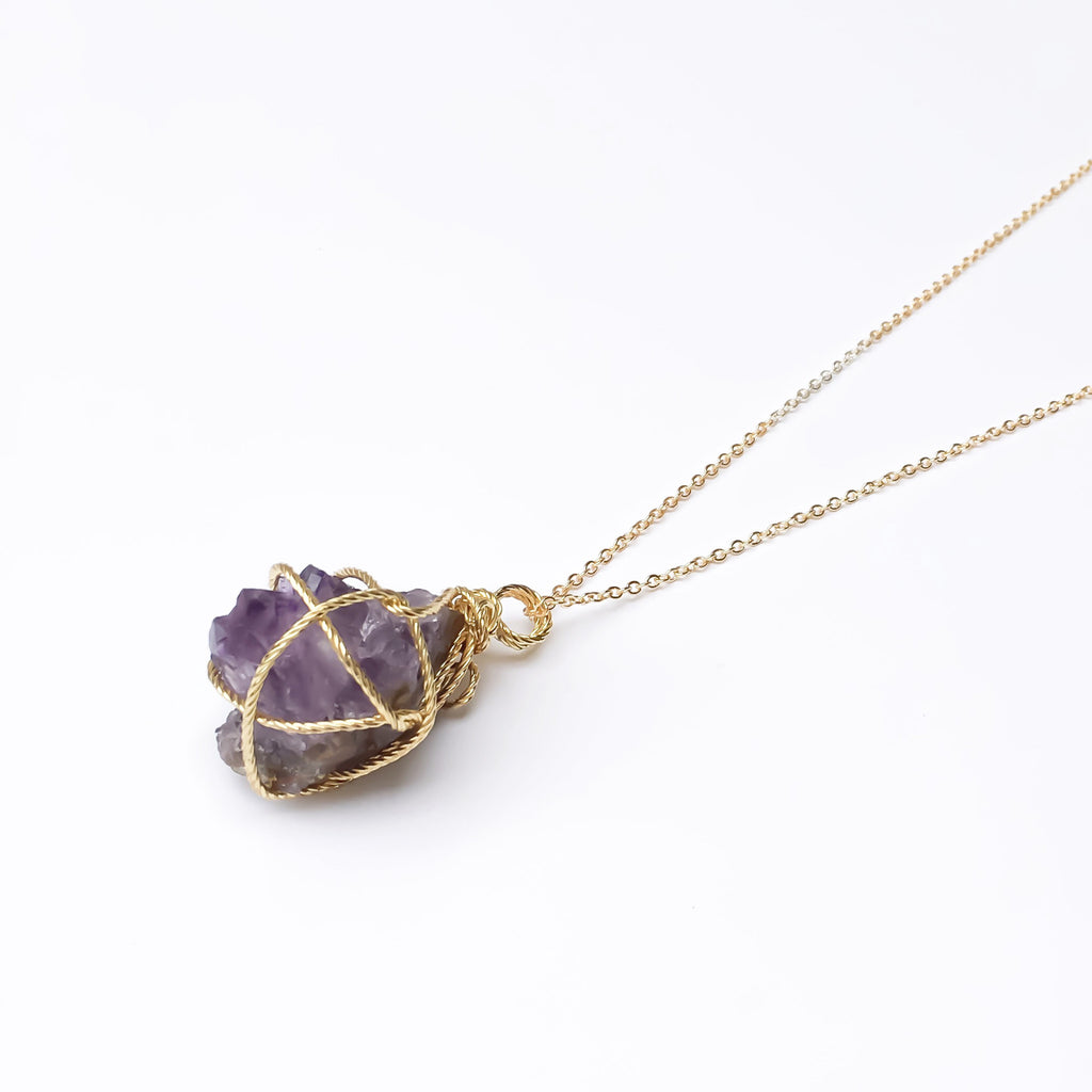 Raw Stone Pendant Necklace Wrapped in Golden Wire