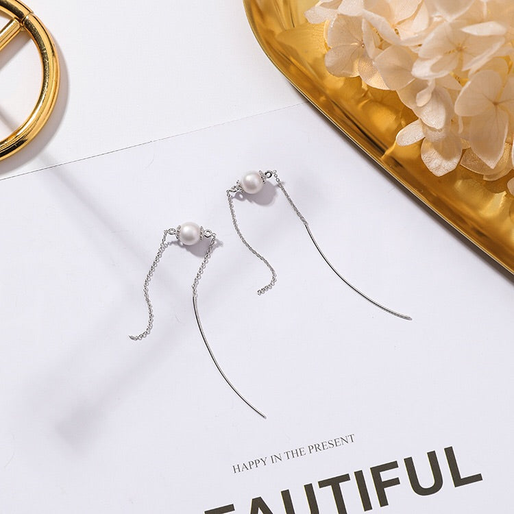 Simplicity Pearl Threader Earrings - The Songbird Collection