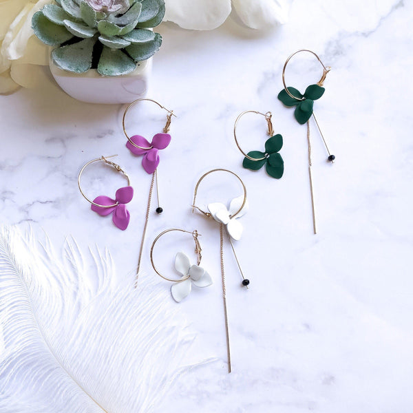 Plumeria Flower Petal Earrings -4 COLORS! - The Songbird Collection