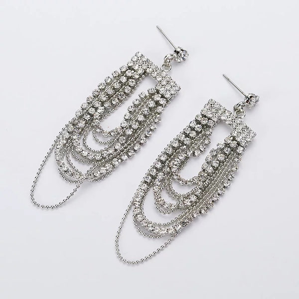 Karis Rhinestone Tassel Earrings