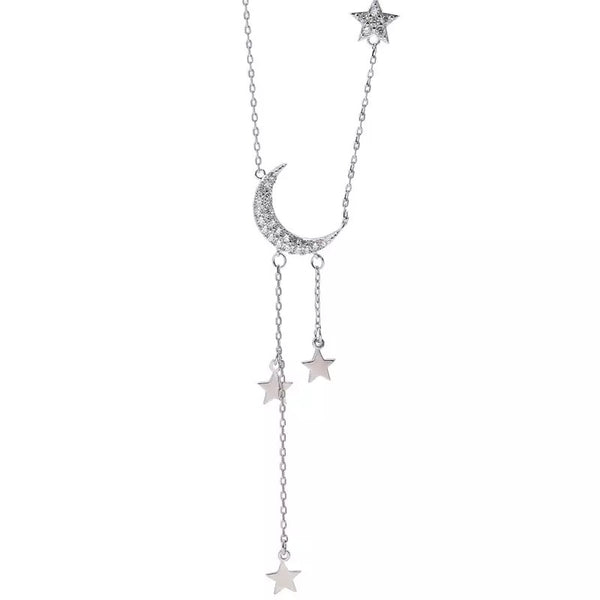 Moonbeam & Star Drop Sterling Silver Necklace - 3 LEFT - The Songbird Collection