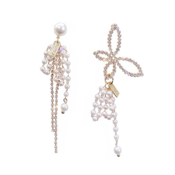 Butterfly and Pearls Asymmetric Earrings - The Songbird Collection