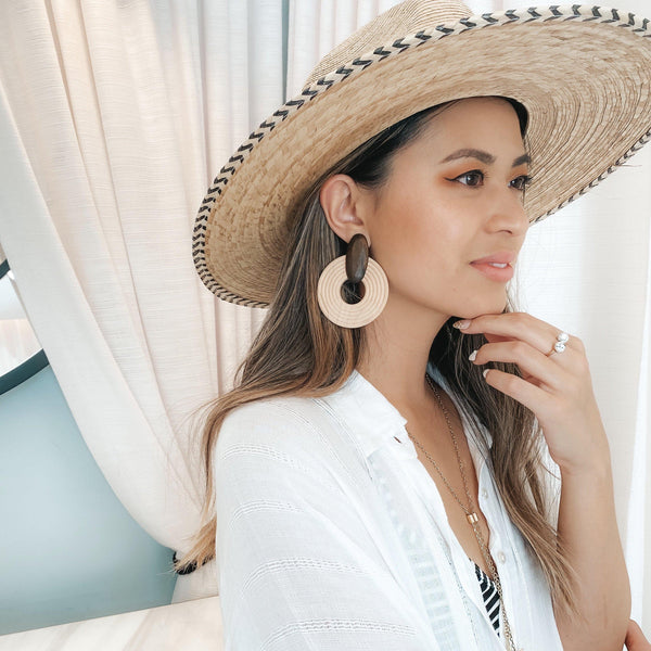 St. Tropez Statement Earrings - Brown & White! - The Songbird Collection