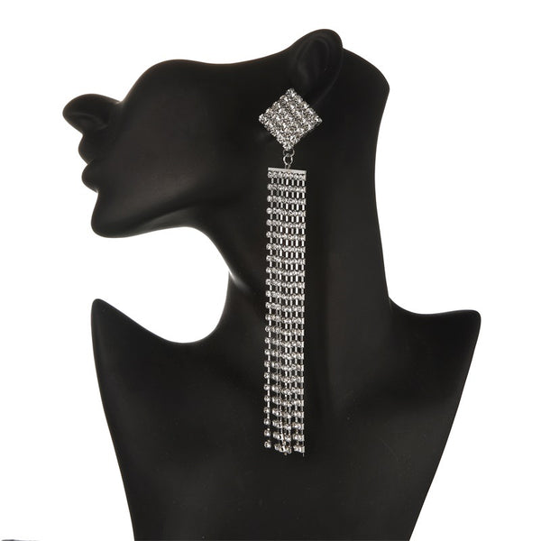 Square  Rhinestone Duster Earrings - The Songbird Collection