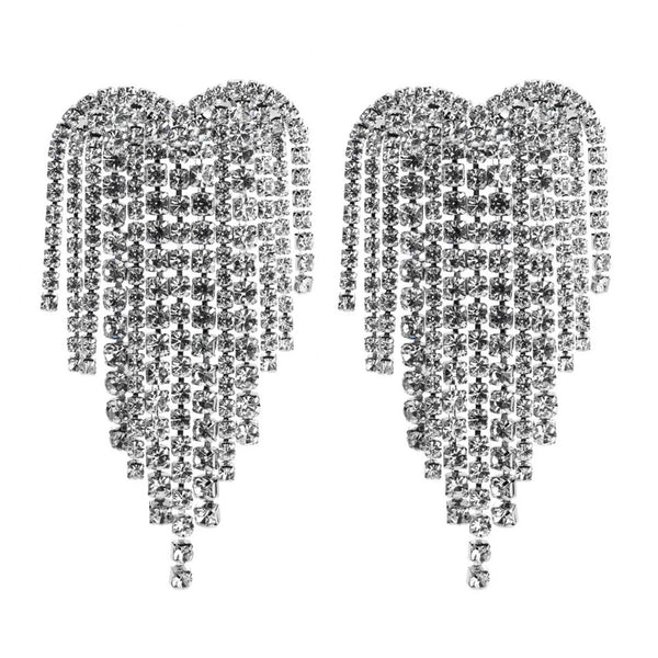 Rhinestone Heart Tassel Earrings - 4 Colors- LOW STOCK! - The Songbird Collection