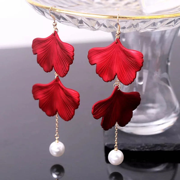 Red Velvet + White Pearl Accent Earrings - The Songbird Collection