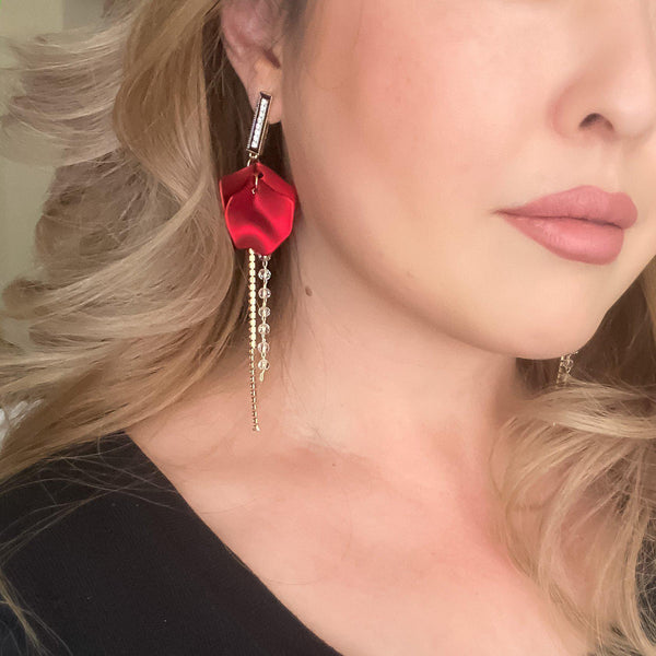 Red Velvet & Rhinestone Drop Earrings - 5 LEFT! - The Songbird Collection