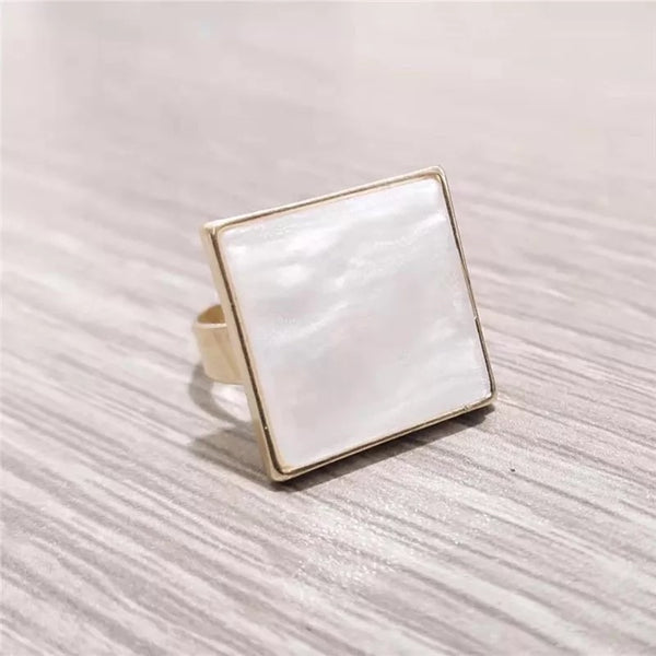 Pearlescent Ivory Square Ring - The Songbird Collection