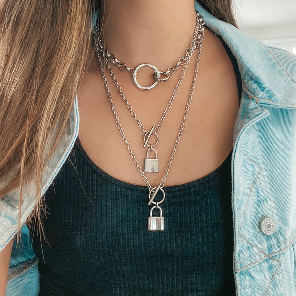 Locked 🔒 Chain Necklace - 2 Styles! Stainless Steel!! - The Songbird Collection