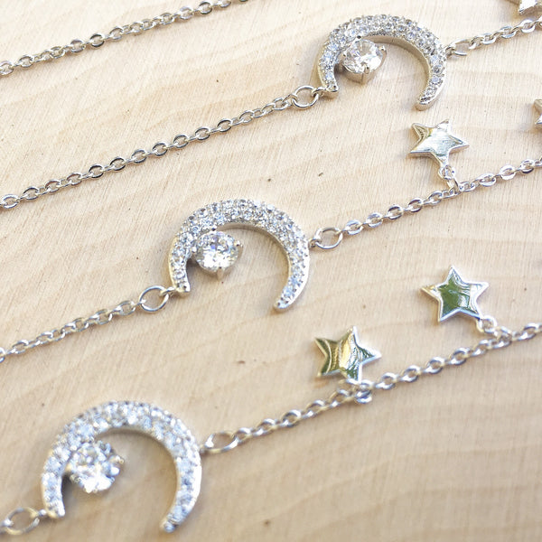 Moon and Stars Charm Bracelet - LOW STOCK! - The Songbird Collection