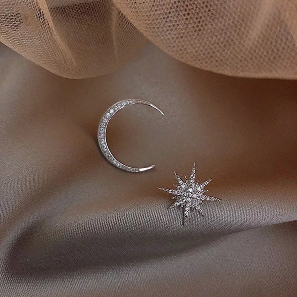 Twinkle Star & Moon Asymmetric Stud Earrings - The Songbird Collection