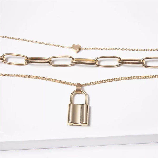 ❤️ Heart & Lock Layered Chain Necklace - The Songbird Collection