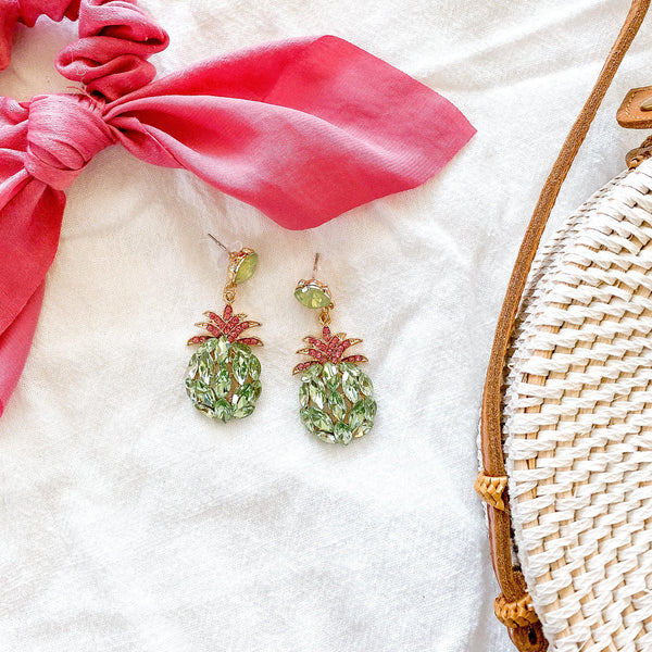 Pineapple Crystal Earrings - 7 Colors LOW STOCK! LAST CHANCE!! - The Songbird Collection
