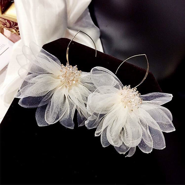 Gardenia Chiffon Flower Drop Earrings - 3 Colors! LAST CHANCE! - The Songbird Collection