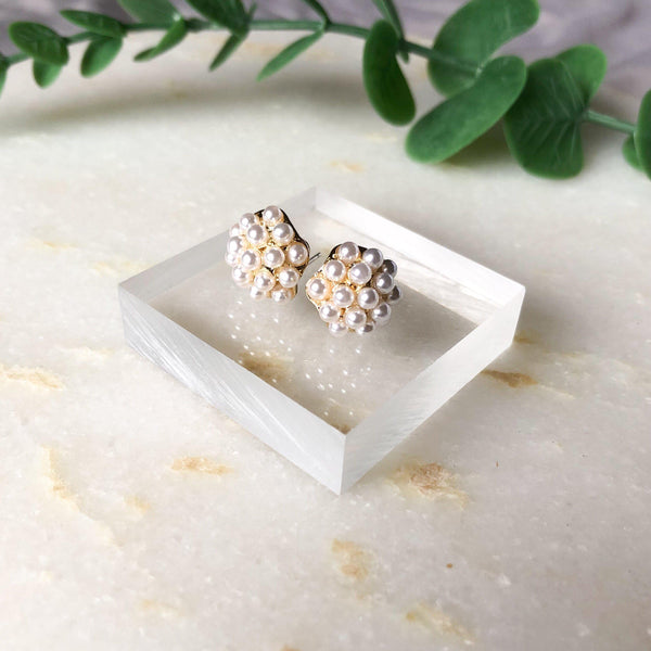 Pearly Dandelion Puff Earrings - The Songbird Collection