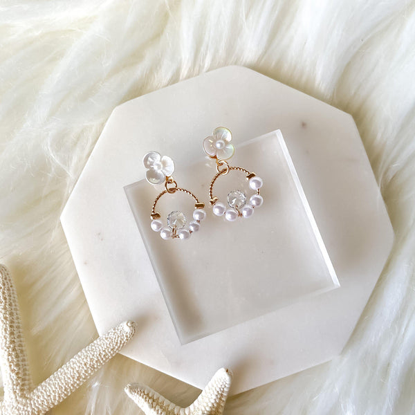 Rejoice Pearl & Flower Earrings - The Songbird Collection