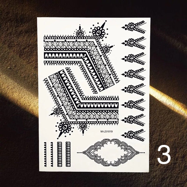 Bohemian Black Temporary Tattoos - 4 Designs! - The Songbird Collection