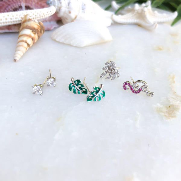 Paradise 6 Piece Earrings Set - 2 Styles with 925 Sterling Silver Needles - The Songbird Collection