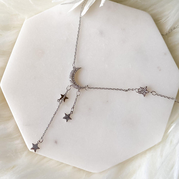 Moonbeam & Star Drop Sterling Silver Necklace - The Songbird Collection