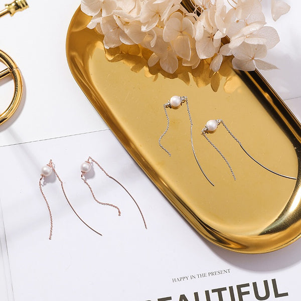 Simplicity Pearl Threader Earrings
