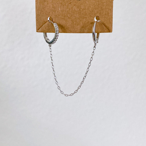 Lipa Chain Link Huggie Earrings - 925 Sterling Silver