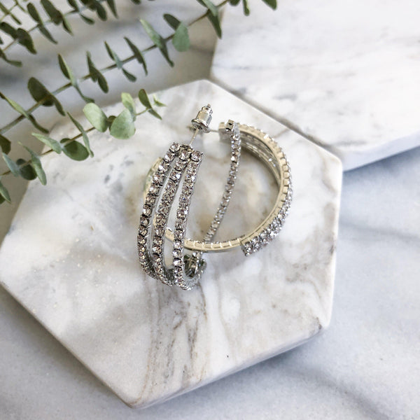 à Trois Rhinestone Hoop Earrings - The Songbird Collection