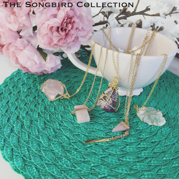 Raw Stone Crystal Necklace - 6 Crystals!! - The Songbird Collection