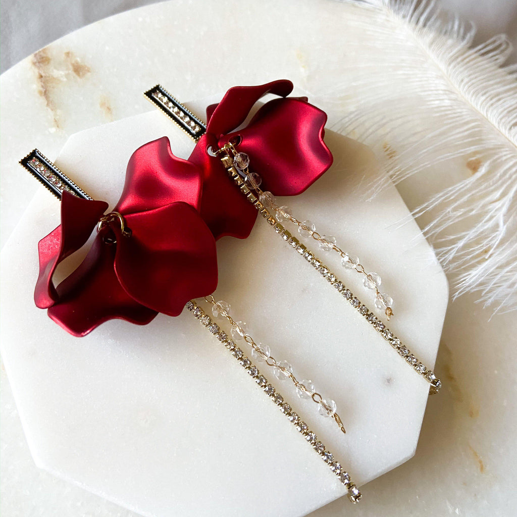 Red Velvet & Rhinestone Drop Earrings - The Songbird Collection
