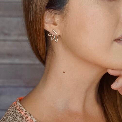 Flower Back Ear Jacket Earrings - Hurry! Just a Few Left! - The Songbird Collection