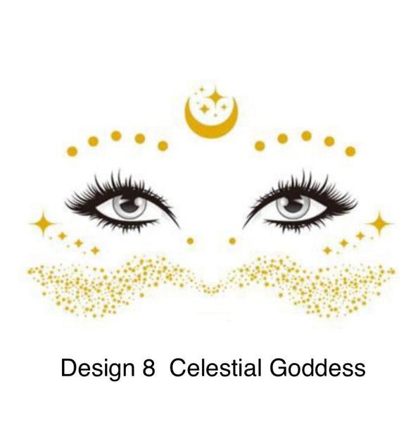 Metallic Face Temporary Tattoo Jewels - #1 BEST SELLER! NEW Designs for 2020!!