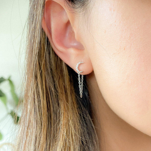 Cielo Chain Huggie Earrings - 925 Sterling Silver - LOW STOCK!