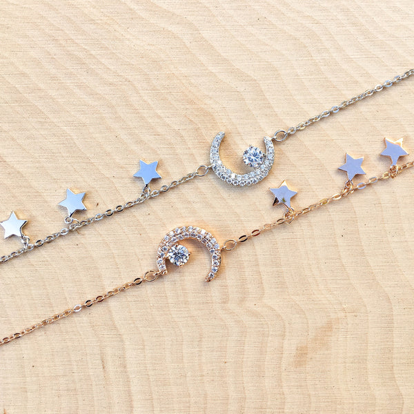 Moon and Stars Charm Bracelet - The Songbird Collection