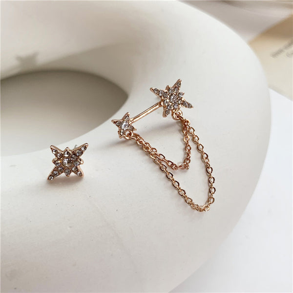 Star Chained Asymmetric Stud Earrings - 9 LEFT! - The Songbird Collection