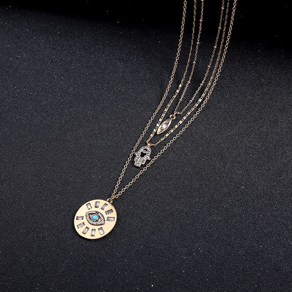 Hamsa & Evil Eye Three Layer Necklace - HURRY! 2️⃣ Left! LAST CHANCE!! - The Songbird Collection