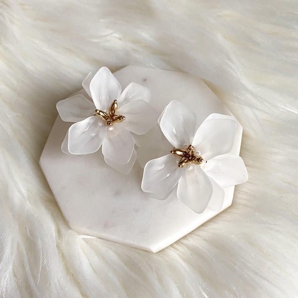 Dahlia Frosted Floral Earrings - LOW STOCK