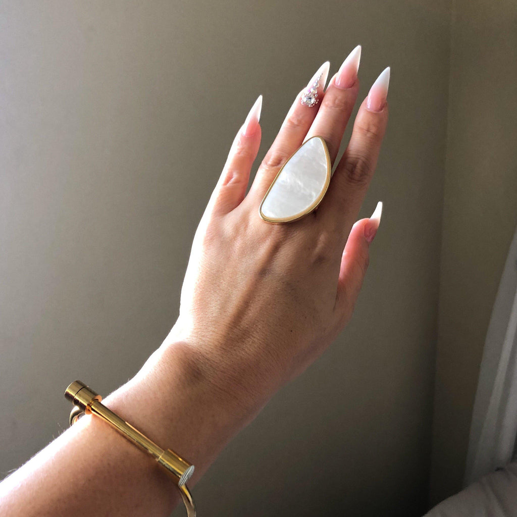 Pearlescent Ivory Statement Ring - 4️⃣ LEFT! - The Songbird Collection
