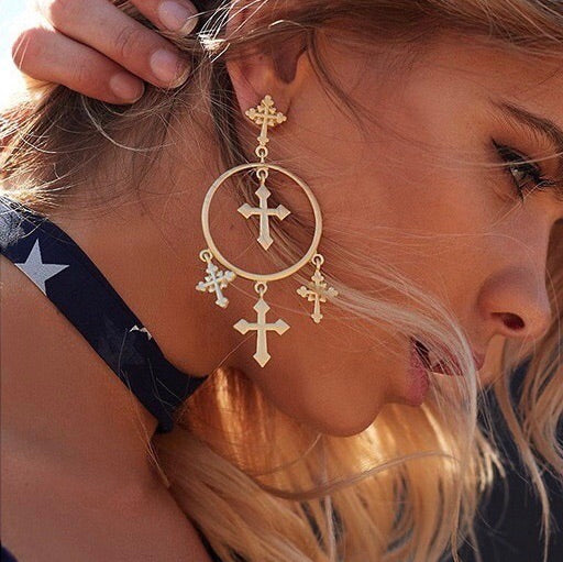 Hoops and Crosses Dangle Earrings - RESTOCKED!! - The Songbird Collection
