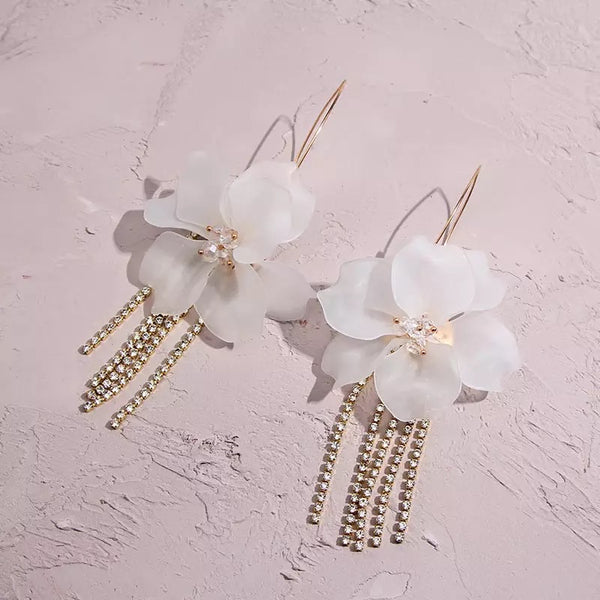 Penelope Flower & Rhinestone Tassel Earrings - 4️⃣ LEFT - The Songbird Collection