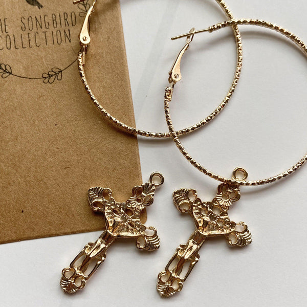 Baroque Cross Hoop Earrings - RESTOCKED! - The Songbird Collection