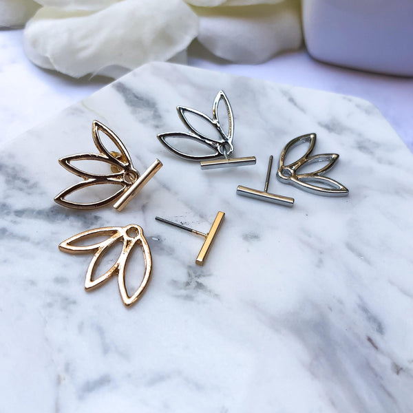 Flower Back Ear Jacket Earrings - Now In 4 Colors! - The Songbird Collection