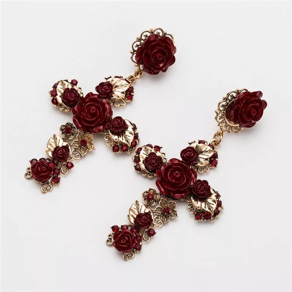 Cruz con Rosas Cross Earrings - LOW STOCK!! - The Songbird Collection