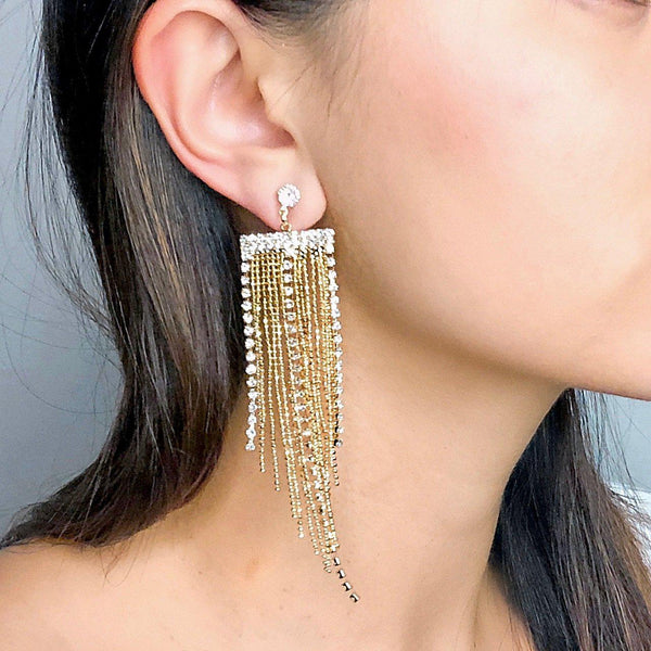 Kyra Rhinestone & Chain Tassel Earrings - The Songbird Collection