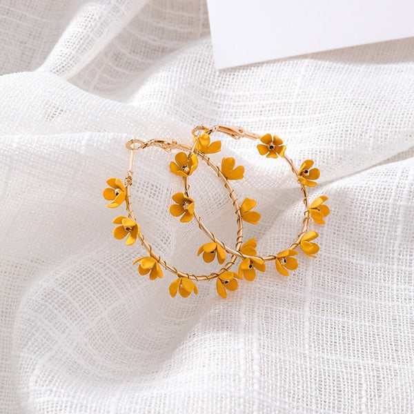Angelica Flower Hoop Earrings - Pink, Yellow, and White! - The Songbird Collection