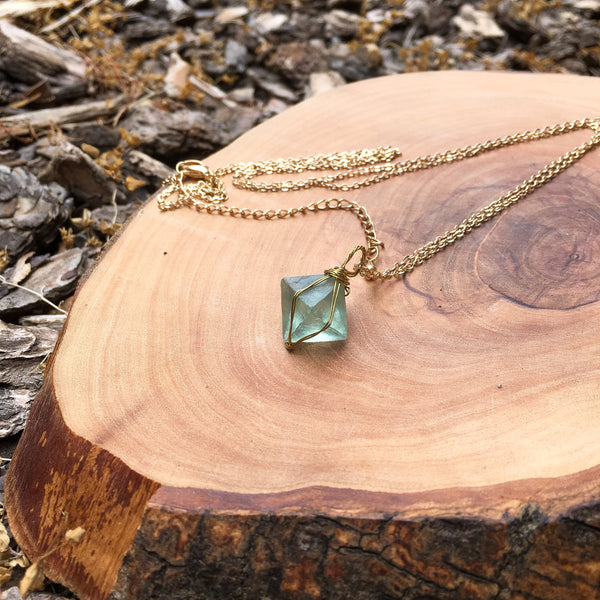 Clarity Fluorite Crystal Pyramid Necklace - HANDMADE in USA! - The Songbird Collection