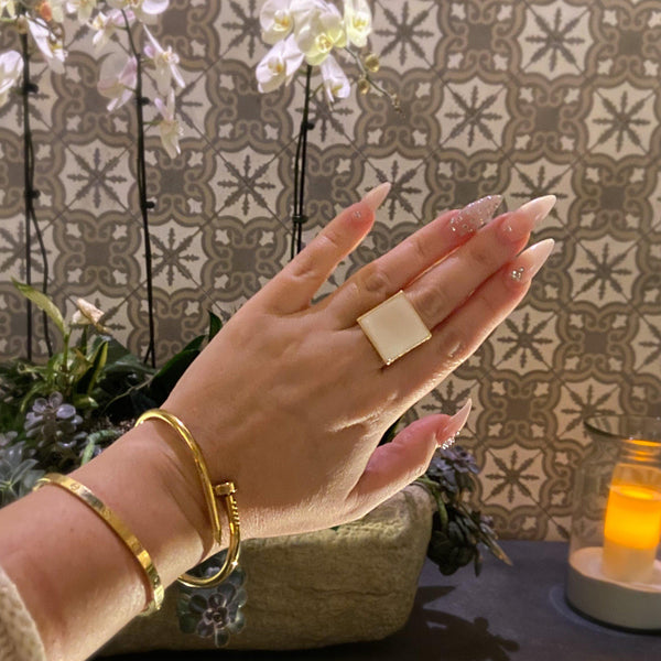Pearlescent Ivory Square Ring - 7 LEFT! - The Songbird Collection